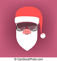 Santa Claus mask with hat and beard