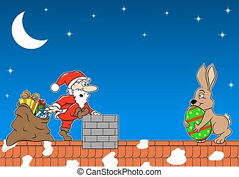 santa claus meets the easter bunny on a roof - vector ...