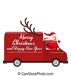 Santa Claus Merry Christmas drives a delivery van. Red delivery truck, side view cartoon style isolated