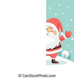 Santa claus merry christmas greeting card