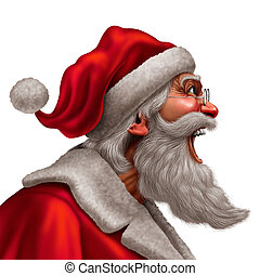 Santa Claus Message - Santa Claus laughing or yelling as a...