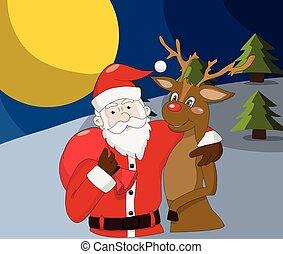 santa claus, met, rendier, op, kerstmis, nacht, achtergrond