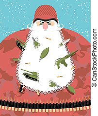 Santa Claus military. Santa in camouflage uniforms and soldier helmet. Grandfather Defender with arms and ammunition in beard. Tank and machine gun, hand grenade. Christmas character in army equipment bullet belt.