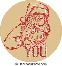 Santa Claus Needs You Pointing Etching - Etching engraving ...