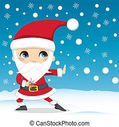 Santa Claus Ninja - Santa Claus throwing snowflake ninja ...