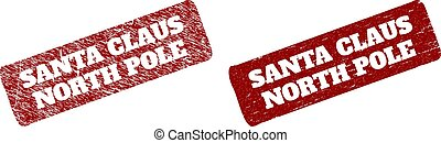 SANTA CLAUS NORTH POLE Red Rounded Rough Rectangular Seal with Rubber Styles