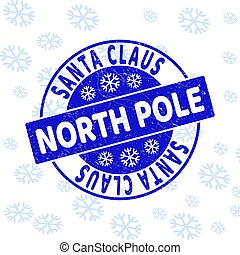 Santa Claus North Pole Scratched Round Stamp Seal for New Year
