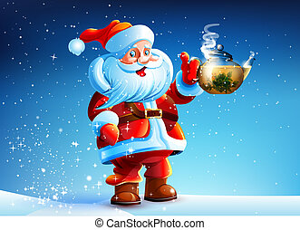 Santa Claus offers drink tea. - Santa Claus is standing in...