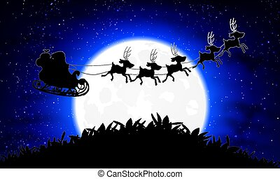 Santa Claus on a background of the blue moon