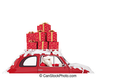 Santa Claus on a red car full of Christmas present drives to deliver