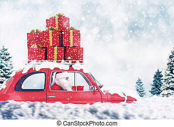 Santa Claus on a red car full of Christmas present with winter background drives to deliver