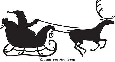 Santa Claus on a reindeer sleigh - Silhouette of Santa Claus...