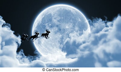 Santa Claus on a Reindeer Sleigh Flying Between the Clouds on the Background of the Moon, Beautiful 3d Animation, Full HD