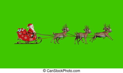 Santa Claus on a Reindeer Sleigh Flying on a Green Background, Two Beautiful 3d Animations, Second with Contour Light for the Night Flight. Seamless Looping, 4k