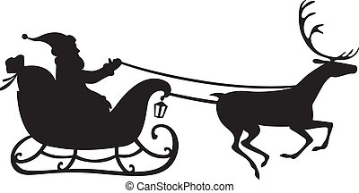 Santa Claus on a reindeer sleigh - Silhouette of Santa Claus...