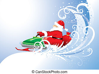 Santa Claus on a snowmobile. Vector editable. - Santa Claus...