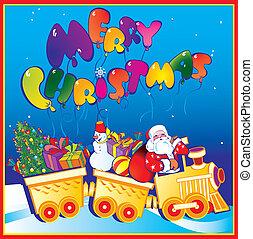 Santa Claus on a train.