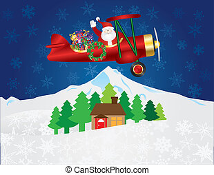 Santa Claus on Biplane with Presents on Night Snow Scene