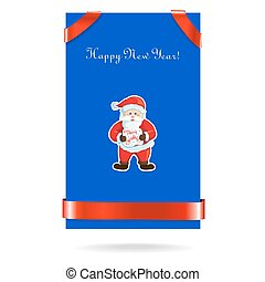 Santa Claus on blue card with a red ribbon. Vector