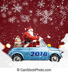Santa Claus on car