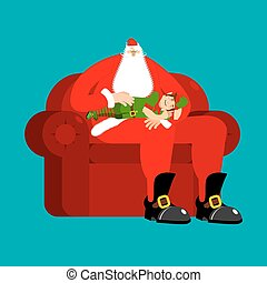 Santa Claus on chair stroking elf sleep. Christmas and New Year Vector Illustration