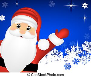 Santa Claus on Christmas blue background with snowflakes