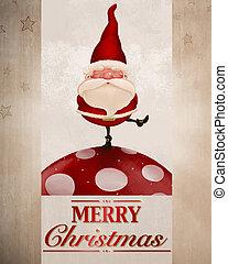 Santa Claus on fungus greeting card