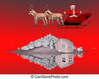 Santa Claus on his sleigh