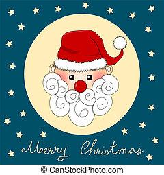 Santa Claus on Indigo Blue Christmas Greeting Card