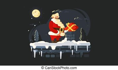 Santa Claus on roof, animation