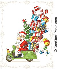 Santa Claus on Scooter Silly Vector Cartoon.eps