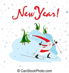 Santa Claus on skis. Winter sport. Vector illustration