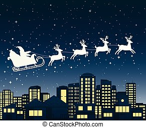 Santa Claus on sledge flies over a city at night.