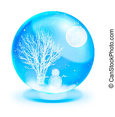 Santa Claus On Sledge With Deer and full moon in blue...