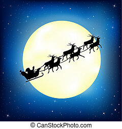 Santa Claus On Sledge With Deer And Moon, Vector...