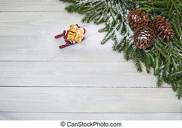 Santa Claus on sledge with gifts