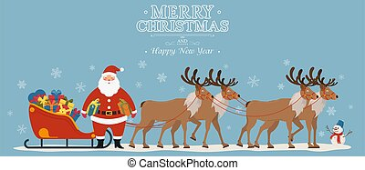 Santa Claus on sleigh full of gifts with his reindeers. Christmas decoration. Greeting card poster horizontal banner. Flat vector illustration.
