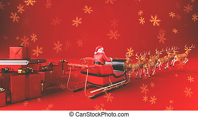 Santa Claus on sleigh with reindeer ready to distribute christmas presents on red background with golden snow flakes