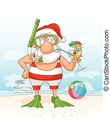 Santa Claus on Summer Holiday Vector Cartoon