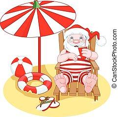 Cartoon Santa Claus relaxes on the beach