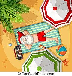 Santa Claus on the beach for Summer Christmas
