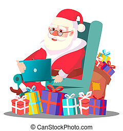 Santa Claus On The Chair With Laptop Vector. Illustration