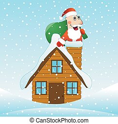 Santa Claus on the roof of the house with a bag of gifts