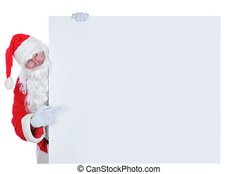 Santa Claus on the side of a wide blank poster pointing at the blank space