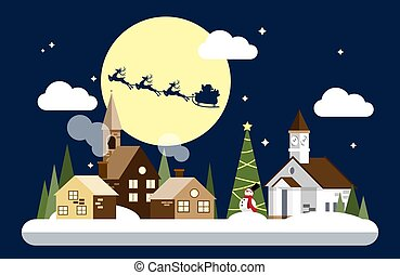 Santa Claus on the sky coming to snowing urban landscape in flat design with snow man at night times and Happy Holidays!Text.
