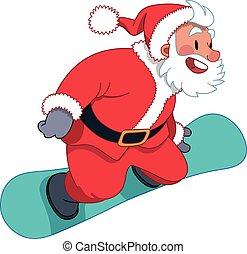 Santa Claus on the snowboard