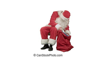Santa Claus on the tablet in the New Year on white background