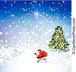 Santa Claus on the Winter landscape