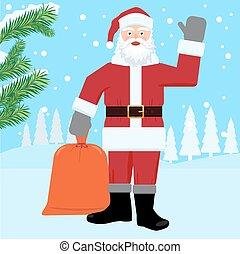 Santa Claus on the Winter landscape.