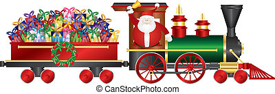 Santa Claus on Train Delivering Presents Illustration -...